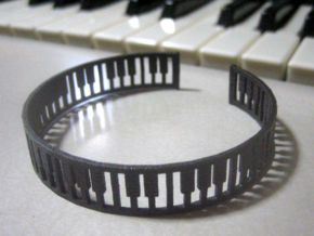 simple piano frame cuff in Matte Black Steel: Medium