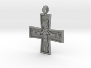Virgin Mary Cross Pendant in Gray PA12