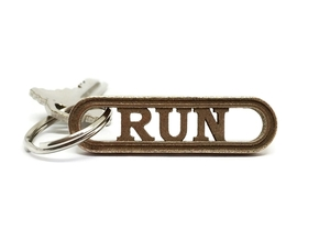 RUN Keychain Gift for Runners in Polished Bronzed-Silver Steel