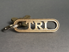 Triathlete Gift Keychain in Polished Bronzed-Silver Steel
