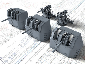 "1/128 RN 4"" MKV P Class Guns x5 in Smooth Fine Detail Plastic"