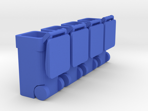 Trash Cart 64 gal Lid Open - HO 87:1 Scale Qty (4) in Blue Processed Versatile Plastic