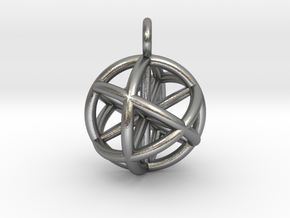 Vector Equilibrium Sphere 20mm- with 6 axis in Natural Silver