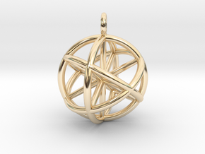 Seed of Life - 6 Axis 30mm.stl in 14k Gold Plated Brass