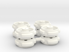 5 Hole Bud Dual 2 axle set in wfp  in White Processed Versatile Plastic