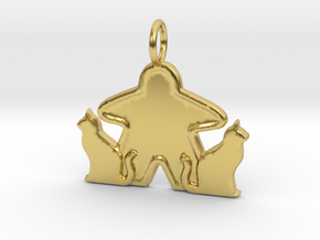Cat meeple pendant  in Polished Brass