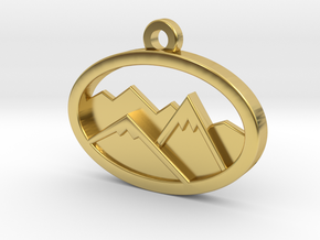 Layered Mountains Pendant in Polished Brass