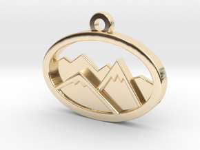 Layered Mountains Pendant in 14k Gold Plated Brass