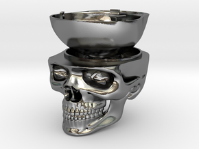 Skull Ring Box - Engagement Ring Box in Polished Silver