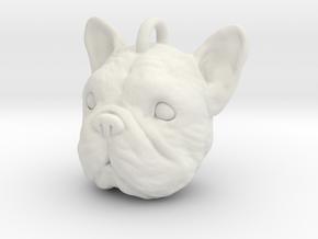 French bulldog head in White Natural Versatile Plastic