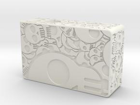 Mech Squonker Skull engraved (box) 18650 in White Natural Versatile Plastic