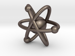 Atom Pendant in Polished Bronzed-Silver Steel