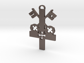 The Cross of St. Peter, First among equals. in Polished Bronzed-Silver Steel