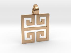Greek square [pendant] in Polished Bronze