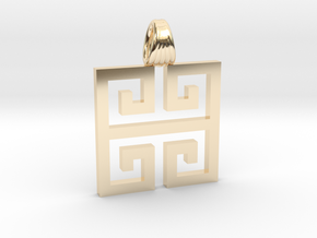 Greek square [pendant] in 14K Yellow Gold