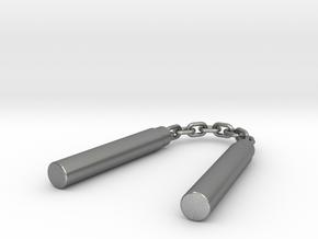 Nunchaku Keychain in Natural Silver (Interlocking Parts)