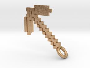 Minecraft Pickaxe Pendant in Natural Bronze