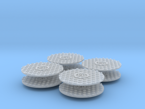 Manhole Cover Set 1/32 in Smooth Fine Detail Plastic