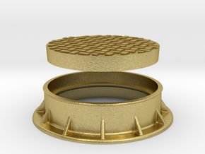 Heavy Manhole Cover and Flange 1/32 scale in Natural Brass