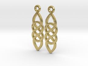 Celtic Druid Earrings in Natural Brass