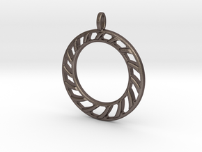 Pendant 2 excentric rings  in Polished Bronzed-Silver Steel