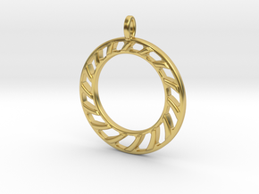 Pendant 2 excentric rings  in Polished Brass