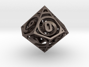 Spiral Dice - D10 Spindown life counter in Polished Bronzed-Silver Steel