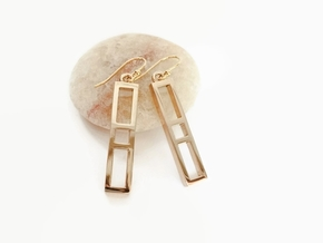 Ladder Earrings - Geometric 3D Printed Earrings in Polished Bronze