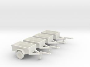 1/100 Scale M416 Jeep Trailers (4) in White Natural Versatile Plastic