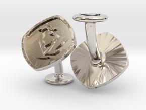 Cufflinks MTG Red Mana Symbol (Mountain) in Rhodium Plated Brass