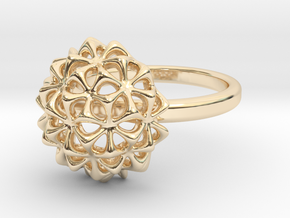 Virus Ball - Ring in Cast Metals in 14k Gold Plated Brass