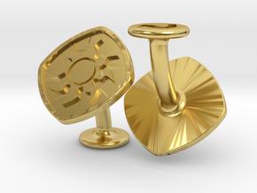 Cufflinks MTG White Mana Symbol (Plains) in Polished Brass