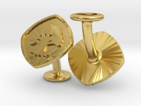 Cufflinks MTG Green Mana Symbol (Forest) in Polished Brass