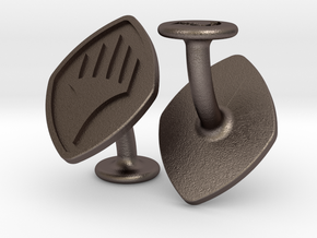 Cufflinks Planeswalker Symbol in Polished Bronzed-Silver Steel