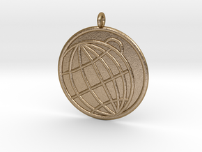 Planetology Symbol in Polished Gold Steel