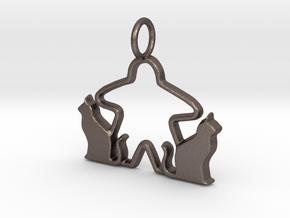 Cat meeple pendant 2 in Polished Bronzed-Silver Steel