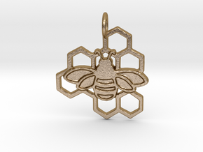 Bumblebee pendant honeycomb design in Polished Gold Steel