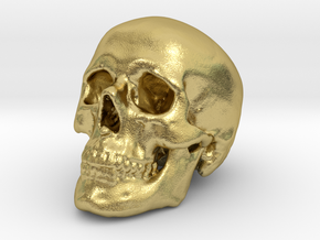 Skull 30 mm in Natural Brass