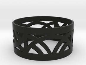 Wide Deco Bangle  in Black Natural Versatile Plastic: Extra Small