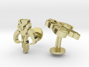 SW Mandalorian Cufflinks in 18k Gold Plated Brass