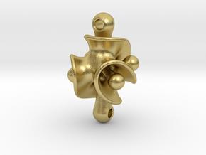 Triple Torus Pendant in Natural Brass (Interlocking Parts)