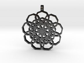 Nine pointed pendant in Matte Black Steel