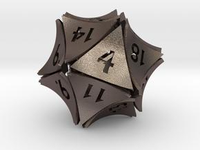 Peel Dice - D20 (twenty sided gaming die) in Polished Bronzed-Silver Steel