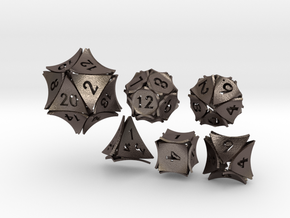 Peel Dice - 6 die polyhedral set in Polished Bronzed-Silver Steel
