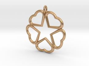 Hearts Hidden Pentacle pendant  in Natural Bronze