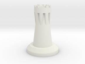 Rook-Chesspiece in White Natural Versatile Plastic