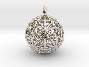 Earth Grid - disdyakis triacontahedron - 26mm diam in Rhodium Plated Brass