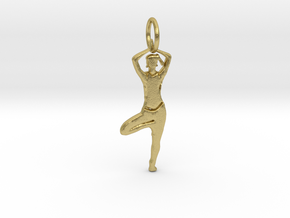 Lady Yoga Tree Pose  Pendant in Natural Brass