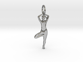 Lady Yoga Tree Pose  Pendant in Natural Silver