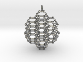 Truncated Octahedral Honeycomb - 28mm in Natural Silver